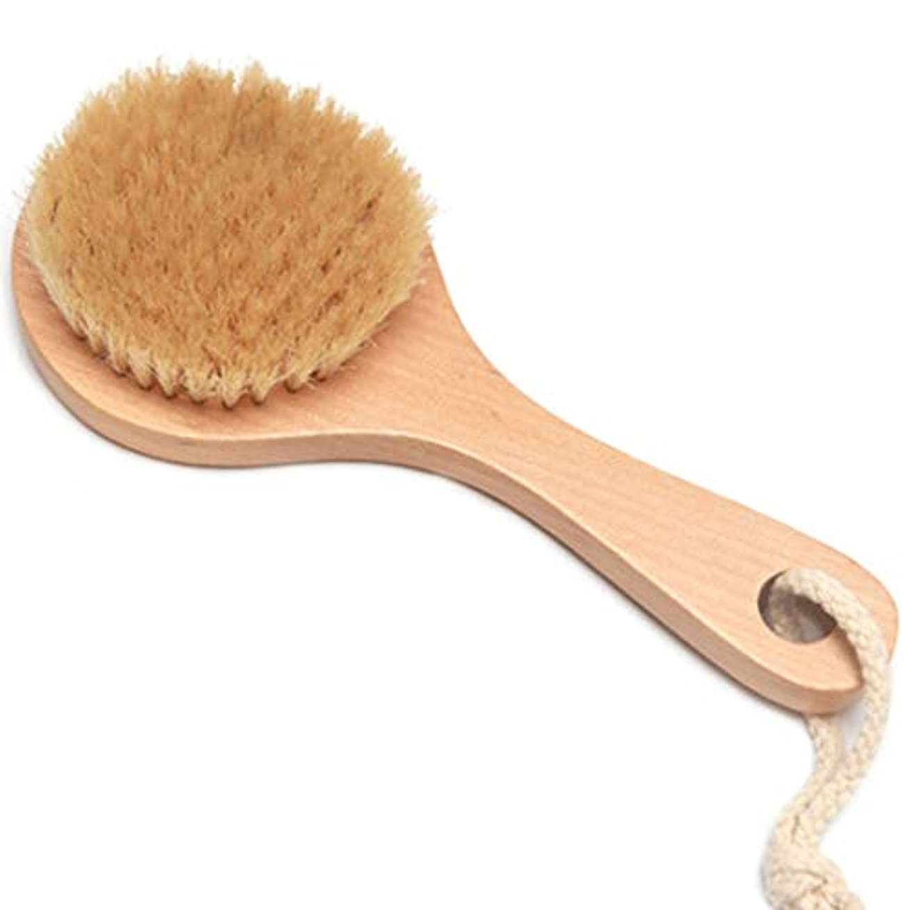 足シルエットパンダバスブラシバックブラシロングハンドルやわらかい毛髪バスブラシバスブラシ角質除去クリーニングブラシ (Color : Wood color, Size : 20*7.5cm)