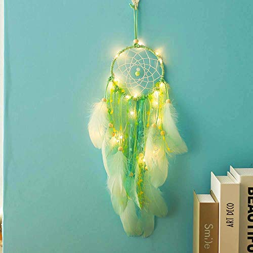 LED Dream Catcher Handmade Feather Wind Chime Battery Powered Bedroom Balcony Top Wall Romantic Personality Creative Hand Made Gift Accessories (Excluding Battery),Green