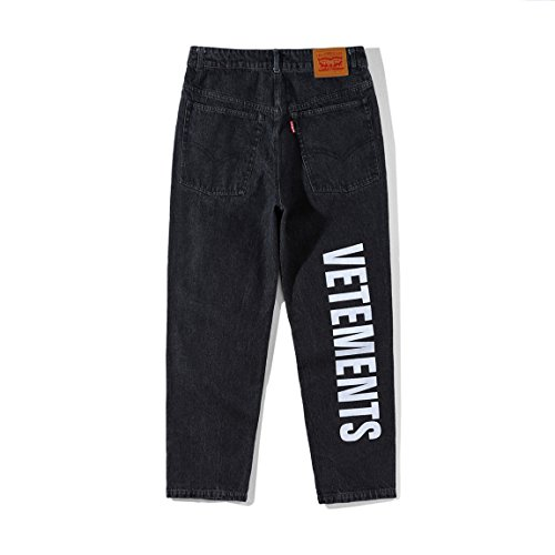 VETEMENTS x LEVI'S DESTROYED DENIM PANTS ハイウエストジーンズ ズボンの脚のロゴプリント デニムパンツ スーパー ストレッチ ジーンズ ブラック 18SS (XS)