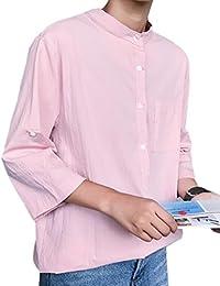 Keaac メンズ?カジュアルカフスリーブコットンソリッドカラーのボタンダウンシャツ