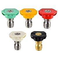 高圧洗浄機スプレー、SUHOO DUS-025高圧洗浄機スプレーノズルチップ複数度1/4クイック接続設計2.5 GPM(5パック)