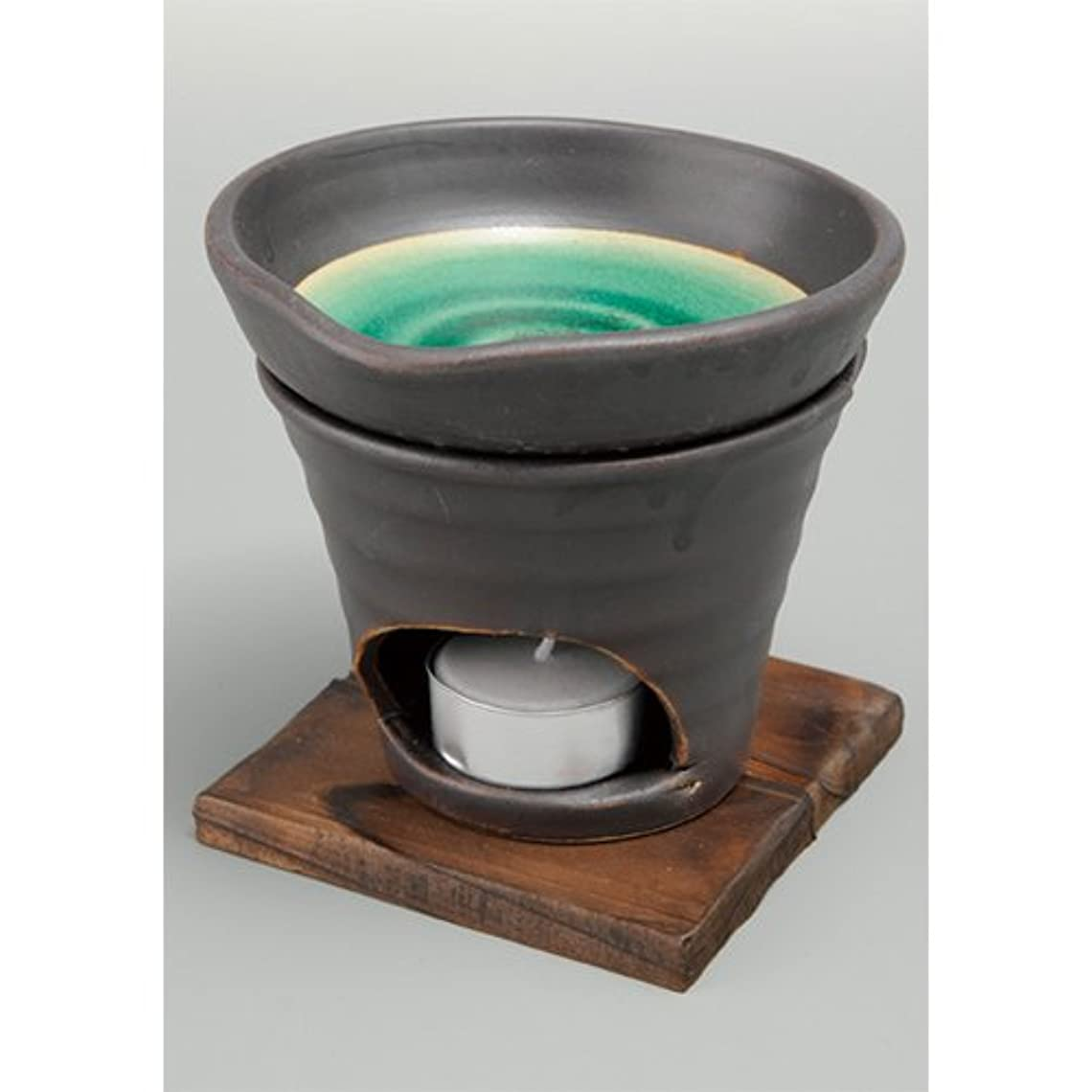 金額盆地自分香炉 黒釉 茶香炉(緑) [R11.8xH11.5cm] HANDMADE プレゼント ギフト 和食器 かわいい インテリア