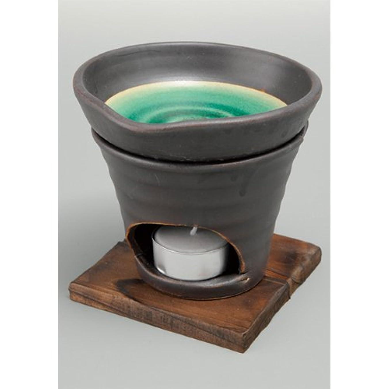 垂直水銀の現代香炉 黒釉 茶香炉(緑) [R11.8xH11.5cm] HANDMADE プレゼント ギフト 和食器 かわいい インテリア