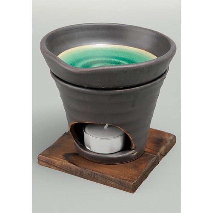 眉をひそめる将来のぼかす香炉 黒釉 茶香炉(緑) [R11.8xH11.5cm] HANDMADE プレゼント ギフト 和食器 かわいい インテリア