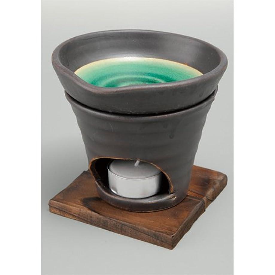 靄色合い学習者香炉 黒釉 茶香炉(緑) [R11.8xH11.5cm] HANDMADE プレゼント ギフト 和食器 かわいい インテリア
