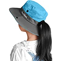 LCZTN Kids Ponytail Sun Hat Wide Brim UV Protection for Girls Beach Bucket Cap