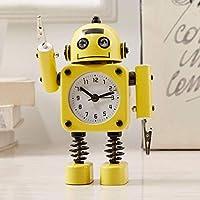 目覚まし時計学生の目覚まし時計付きナイトライトクォーツ目覚まし時計ミニ目覚まし時計漫画の目覚まし時計クリエイティブ目覚まし時計ロボット目覚まし時計(黄色3)