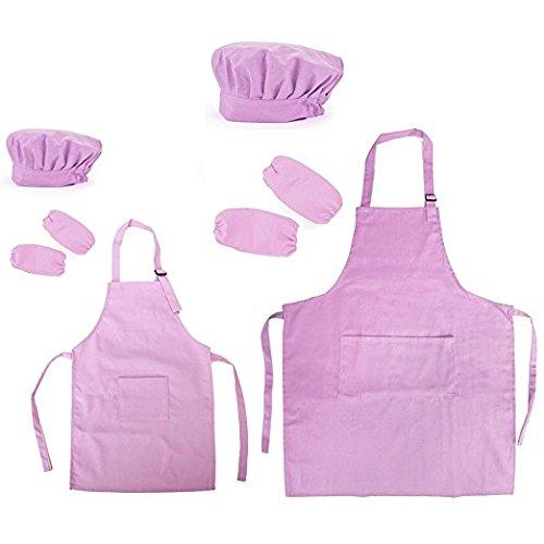 Opromo 多色 子供用 コットンキャンバス エプロン+帽子+オーバースリーブ ポケット付き(1セットの価格) - ライトピンク 親子ペア - XL