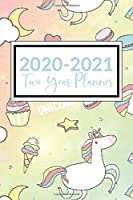 2020-2021 Two Year Planner: Pocket Planner Organizer Daily Weekly Monthly Calendar, including leap year, 24 month with password log and goal agenda, features unicorn, cup cake, clouds and ice cream cones digital paper cover.