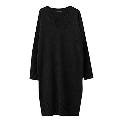 [해외]AquaGarage (아쿠아 차고) 깊은 V 넥 니트 원피스/AquaGarage (Aqua garage) deep V neck knitted dress