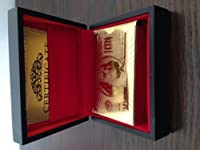 24k Gold Plated Playing Cards Full Poker Deck 99.9% Pure with Wood Box by GoldCardz.com
