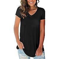 SMALOVY Women's Tops Short Sleeve V Neck T Shirts Summer Basic Tees with Pocket