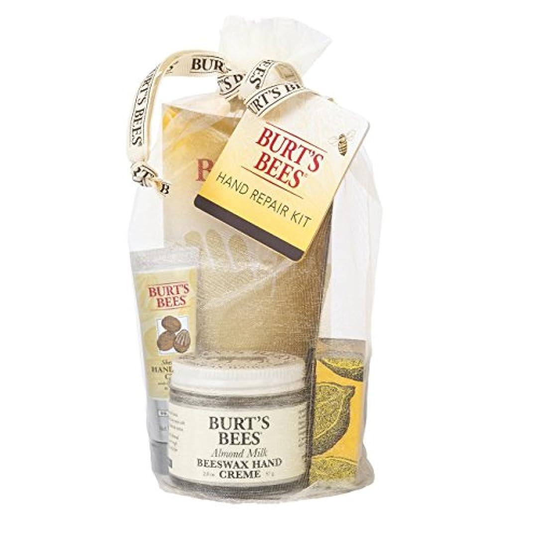 設計図りんご動脈Burt's Bees バーツビーズ ハンドリペアギフトセット 3種ハンドクリームとお手入れ用コットン手袋の詰め合わせ アーモンドミルクビーズワックスハンドクリーム(57g)、レモンバターキューティクルクリーム(17g)...