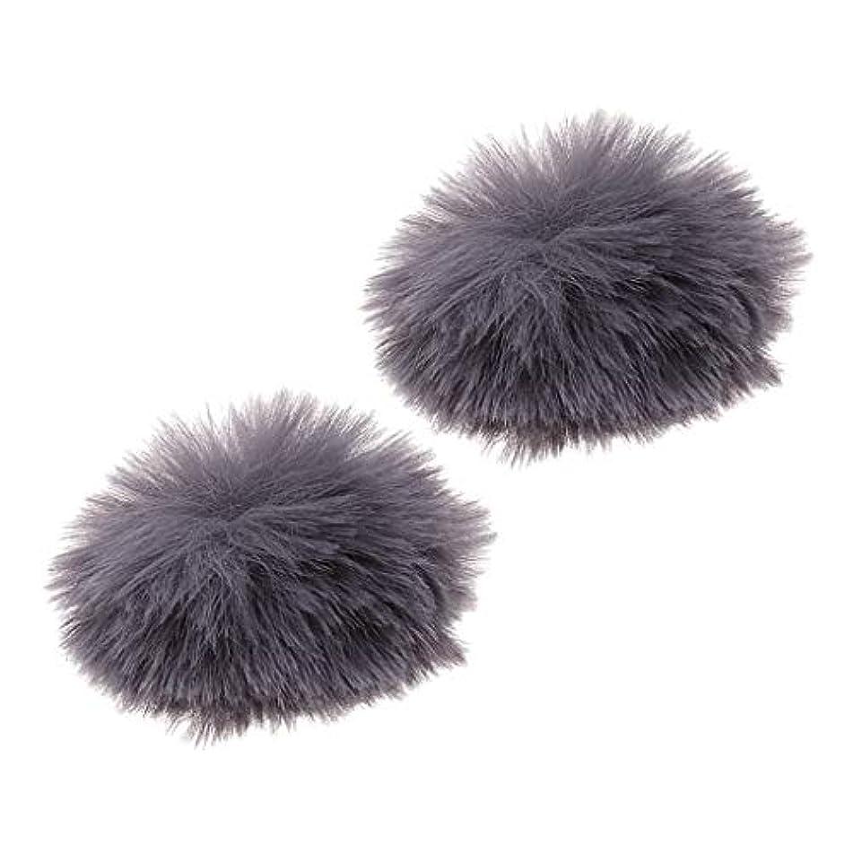 蜜のりリルH HILABEE 人工毛 ウィンドスクリーン 風防 ピンマイク用 全5選択 - 銀(2個), 穴直径0.5cm