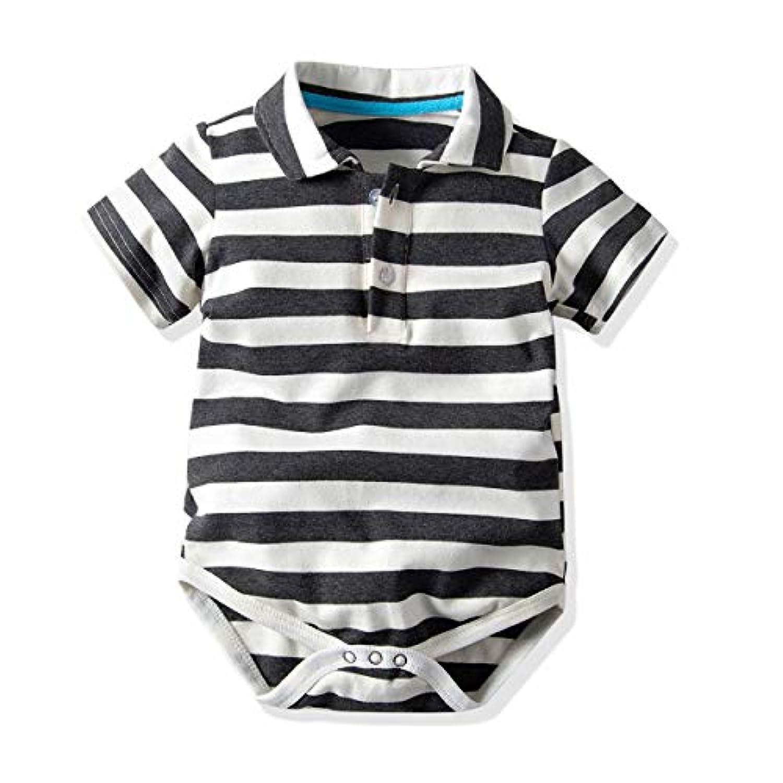 Milkiwai 半袖 ロンパース 子供服 キッズ ベビー服 男の子 女の子 カバーオール 春夏 コットン 綿 size 90 (ブラック)