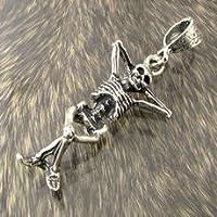 ペンダントトップ リラックスドクロのシルバー製メキシカンペンダントトップmx428