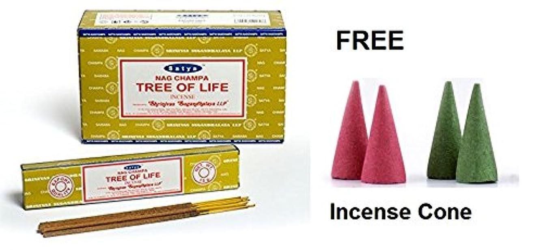 シニス哲学遠いBuycrafty Satya Nag Champa Tree of Life Incense Sticks 180 Grams Box (15g x 12 Boxes) With Free 4 Incense Cone...