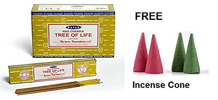 シャトル逆樹皮Buycrafty Satya Nag Champa Tree of Life Incense Sticks 180 Grams Box (15g x 12 Boxes) With Free 4 Incense Cone...