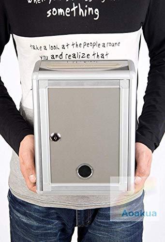 『Aoakua 鍵付きBOX 募金箱 / 応募箱 / 投票箱 / アンケートボックス シルバーグレー W22cm』の6枚目の画像