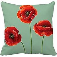 アート絵画コーンポピーレッドの花 スクエアな枕を挿入してクッションカバーの家のソファの装飾贈り物
