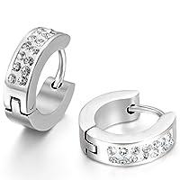 JewelryWe ジュエリー ファッション アクセサリー 2個 メンズ ピアス, イヤリング, イヤーカフ フープピアス, ジルコニア ダイヤ, おもしろ, ステンレス, カラー:シルバー(銀);[ギフトバッグを提供]