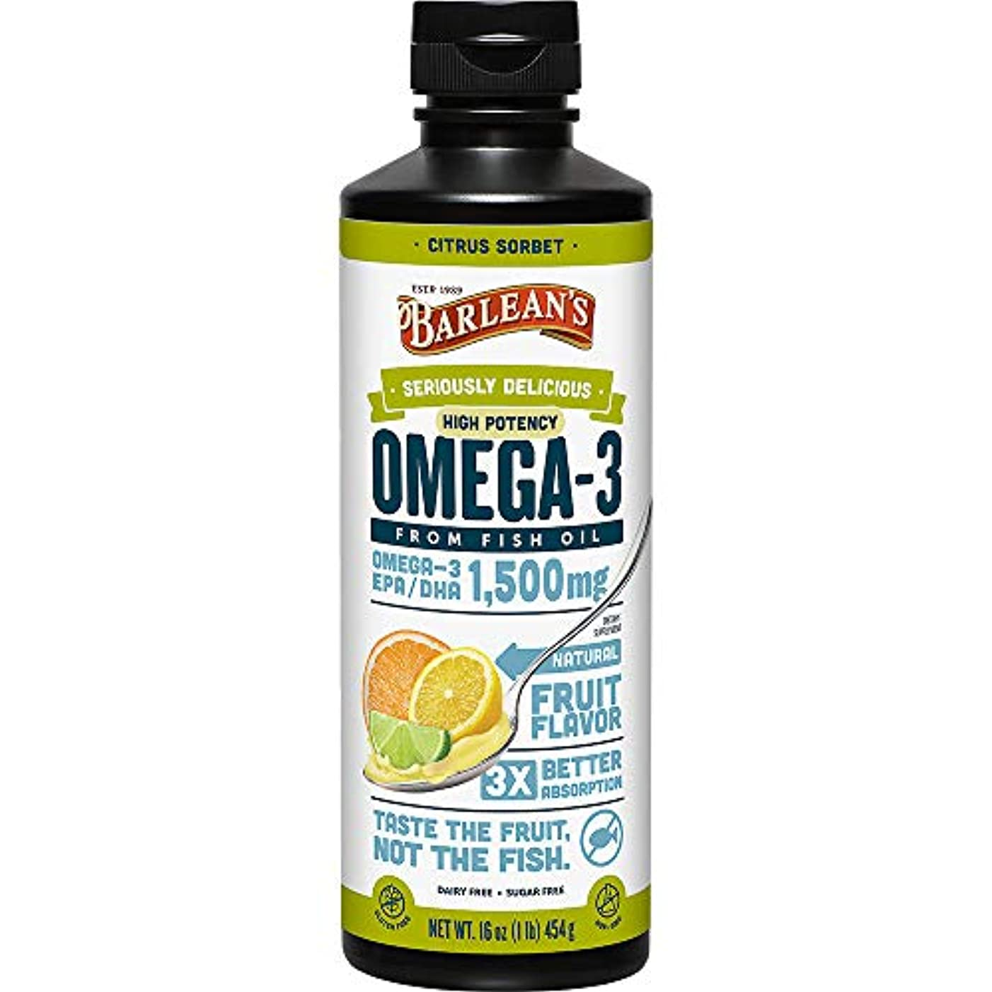 Omega Swirl, Ultra High Potency Fish Oil, Citrus Sorbet - Barlean's - UK Seller by Barlean's