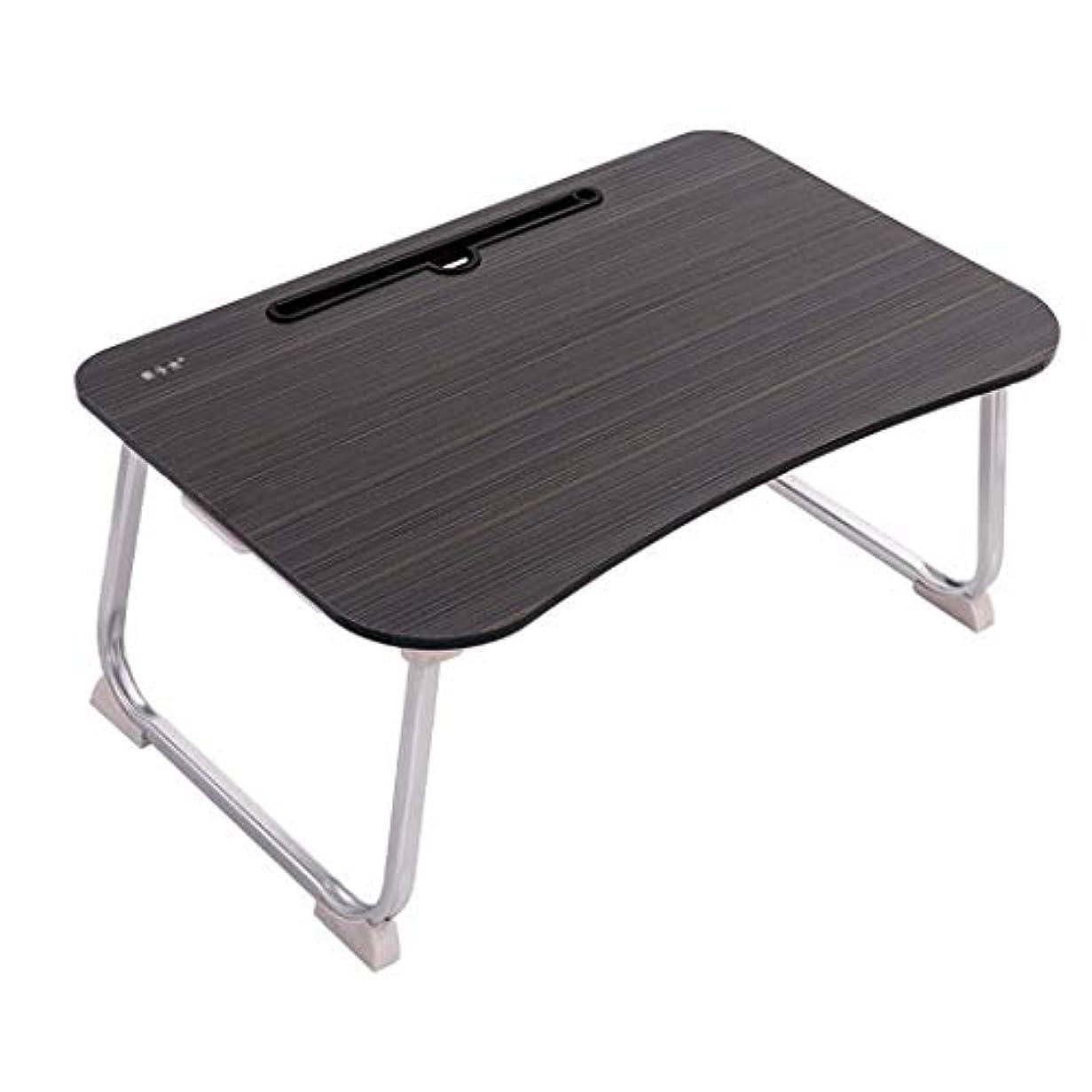 落花生バー類人猿折り畳み式コンピュータデスクアルミテーブル脚引き出し付き高級ベッド小さな机 (Color : Black, Size : 60*40*28cm)