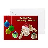 CafePress–Cocker Spaniel Christmas–グリーティングカード、注意カード、誕生日カード、空白内側マット