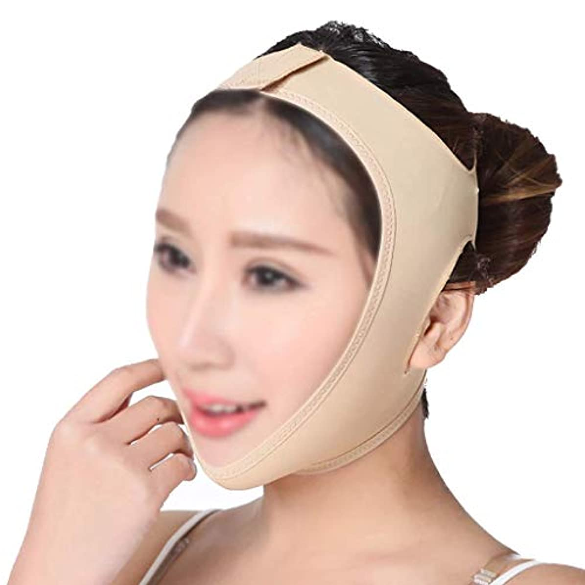 起きてスタック行列フェイスリフティング包帯、Vフェイスインストゥルメントフェイスマスクアーティファクト引き締めマスク手動フェイシャルマッサージ通気性肌のトーン(サイズ:M)