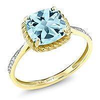Gem Stone King 2.86カラット 天然 スカイブルートパーズ 天然 ダイヤモンド 14金 イエローゴールド(K14) 指輪 リング