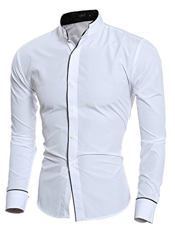 (ワイ-ミー) Y-ME シャツ メンズ 無地 立て襟 長袖