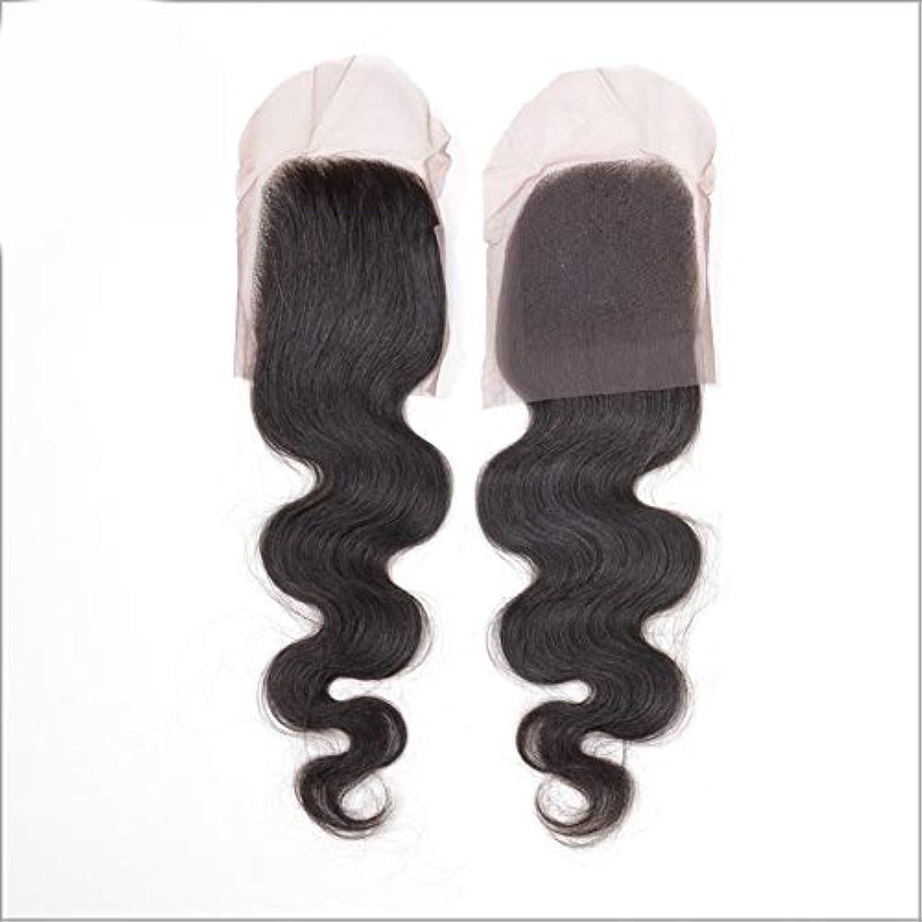 置き場必需品ポイントHOHYLLYA ブラジル髪織りバンドルで閉鎖レース前頭4×4フリーパート実体波フルレースナチュラルヘアエクステンション用女性複合ヘアレースかつらロールプレイングかつら (色 : 黒, サイズ : 10 inch)