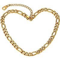 Suplight Dainty Heart/Rose Flower/Figaro Link Chain Anklet, Stainless Steel/18K Gold Plated Sturdy Waterproof Summer Beach Foot Chain for Women (with Gift Box)