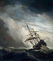 手書き-キャンバスの油絵 - 美術大学の先生直筆 - Ship marine Willem van de Velde the Younger 絵画 洋画 複製画 ウォールアートデコレーション -サイズ17