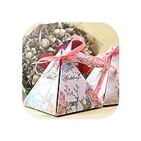 10ピース花ピラミッド結婚式の好意キャンディーボックスブライダルシャワーパーティー紙ギフトボックス付きタグで結婚式の装飾パーティー,Burgundy