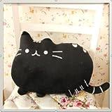 【ELEEJE】 お部屋の インテリアにも 最適 フワフワ 柔らか かわいい ネコ クッション (ブラック)