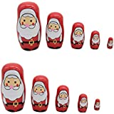 Baoblaze 2 Set 5 Pieces Christmas Santa Claus Russian Nesting Dolls Wooden Babushka Matryoshka Dolls Toy Gift Home Display Decor
