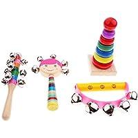 Blesiya 全3種類 楽器 おもちゃ タワー セミサークルラトル ハンドベル トロメル キャスタネット マラカス - 4個