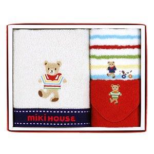 贈り物セット ミキハウス ハンド&ミニタオル 2Pセット 白