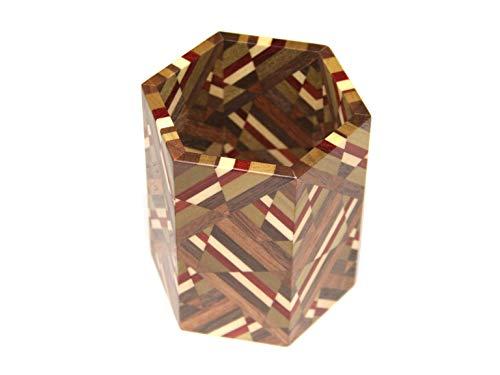 箱根寄木細工 六角ムクペン立て 切り違い