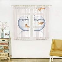 白い透け窓のカーテン レースカーテン 半透明感 ポンポン 洗える 省エネ 幅100cm×丈100cm 水槽、金魚が金魚鉢から飛び出す自由脱出チャレンジ勇敢なテーマ装飾的、ブルーオレンジホワイト
