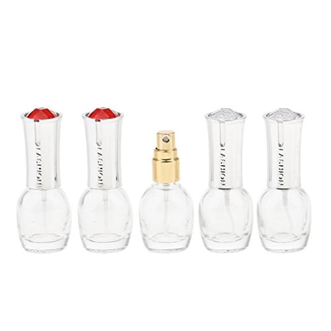 ページうんざりヒロイック5個 ガラス 香水ボトル 空のガラスエッセンシャル オイル 香水 アトマイザー スプレーボトル 10ml 旅行
