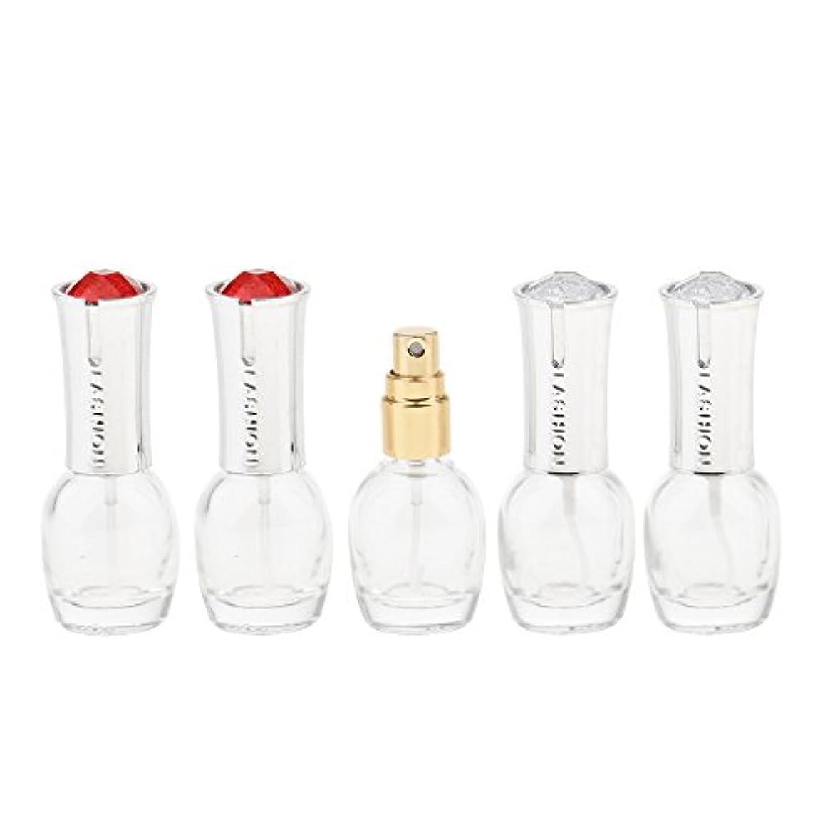 コイン識別するバルセロナKesoto 5個 ガラス 香水ボトル 空のガラスエッセンシャル オイル 香水 アトマイザー スプレーボトル 10ml 旅行