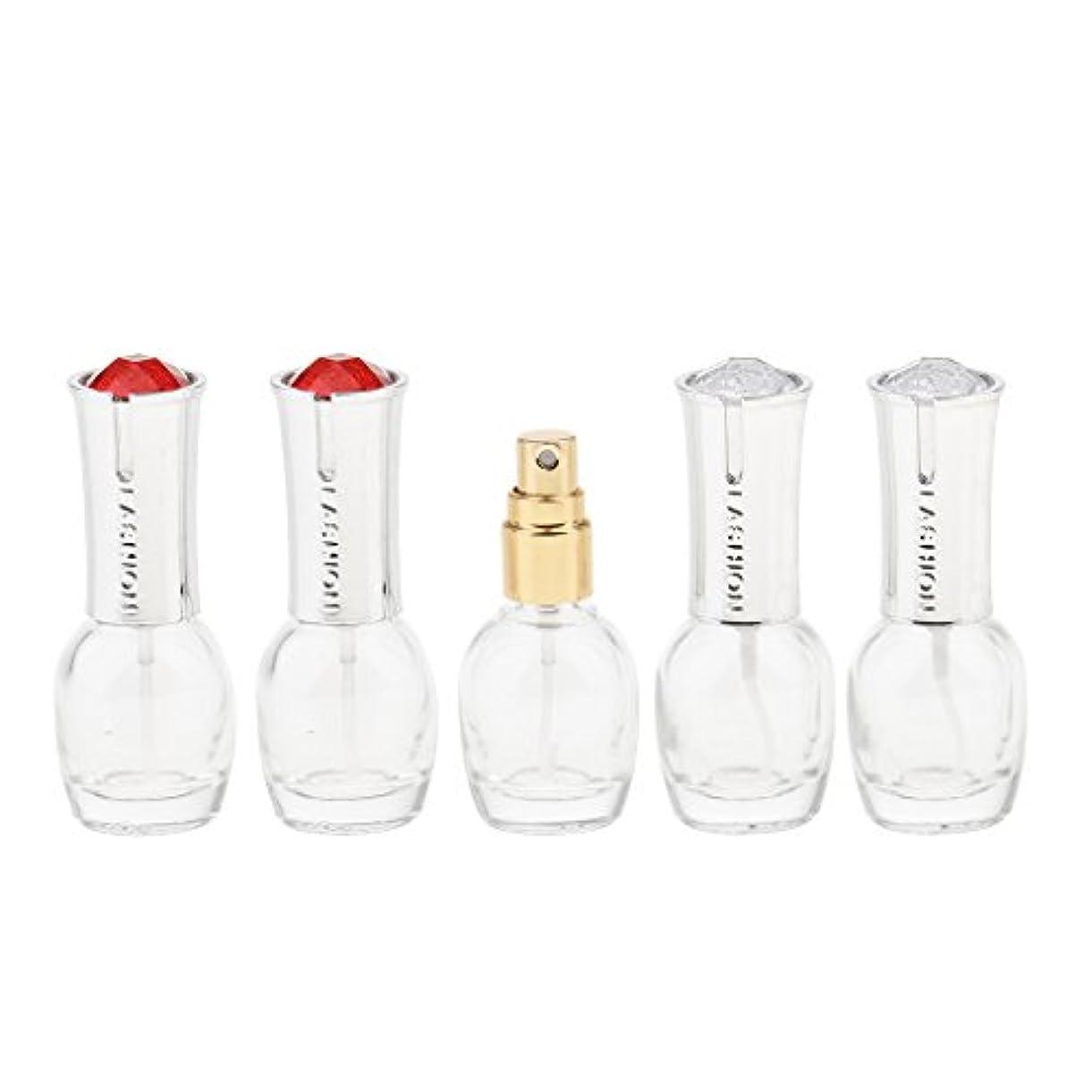 一人で自動的にモール5個 ガラス 香水ボトル 空のガラスエッセンシャル オイル 香水 アトマイザー スプレーボトル 10ml 旅行