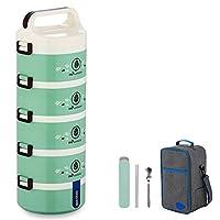 保温弁当箱 ランチボックス 保温食箱桶 ランチジャー 食事箱 お弁当袋付き 食器付き 学校 ピクニックキャンプ (Color : Green, Size : 5 layer)