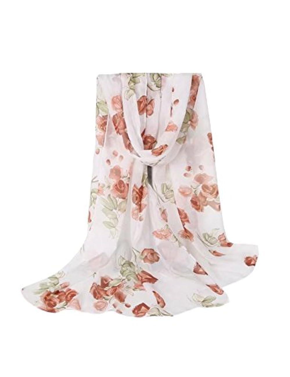津波オーロック短くするドレスヌー レディース ファッション シフォン 爽やか大柄花プリント UVカット 防紫外線 薄手 ロング スカーフ 全6色