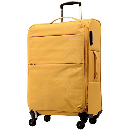 S型 マスタード / AIR6327(solite)機内持ち込み可 ソフト スーツケース キャリーバッグ TSAロック搭載 超軽量
