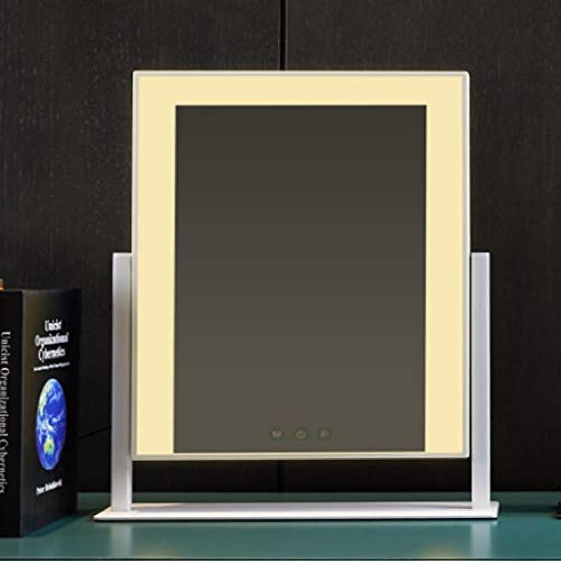 トライアスロンキャリッジピクニックフィルライトled化粧鏡デスクトップ、照明付き充電ミラー、デスクトップ大型電球化粧鏡 (Color : White)