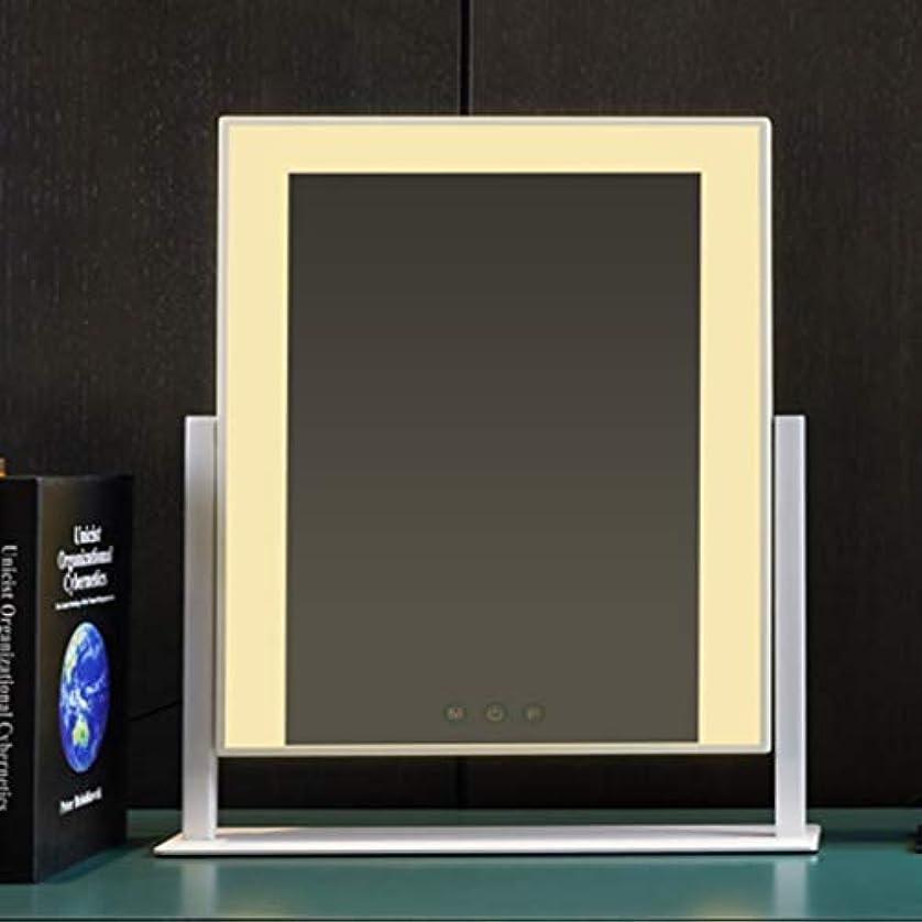 ファンシー系譜インドフィルライトled化粧鏡デスクトップ、照明付き充電ミラー、デスクトップ大型電球化粧鏡 (Color : White)