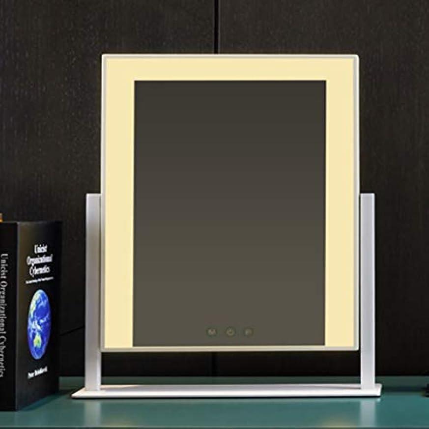 種類ナット暗殺フィルライトled化粧鏡デスクトップ、照明付き充電ミラー、デスクトップ大型電球化粧鏡 (Color : White)